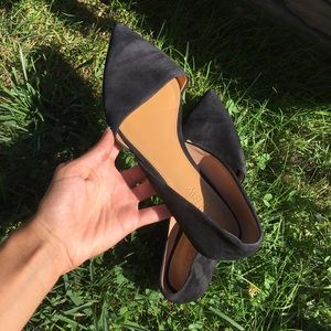 J Crew Black Suede Pointed Flats